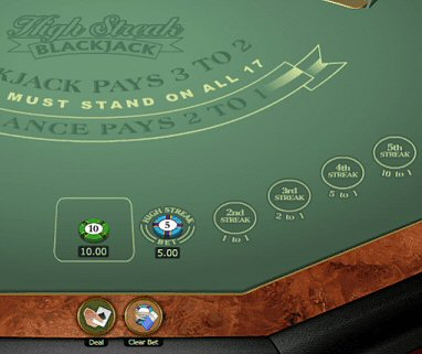 High Streak Blackjack Rules and Side Bet