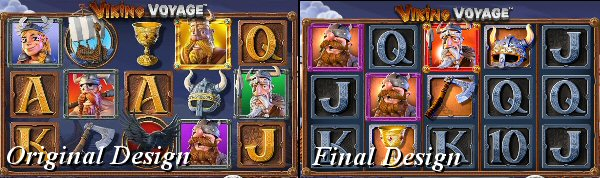 Original Design versus Final Release of Viking Voyage Slot by Betsoft